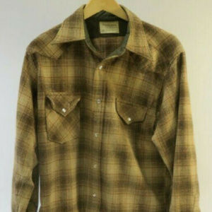Pendleton 1970s Mens L 100% Wool Pearl Snap Shirt